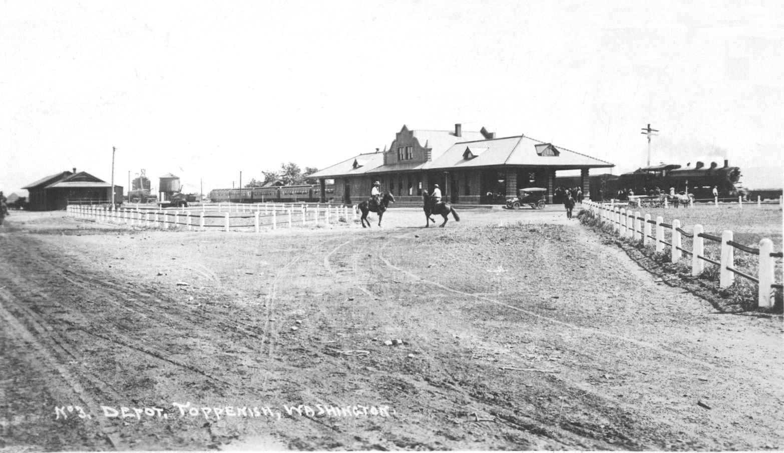 The wooden depot in 1885 was replaced with a brick building in 1911